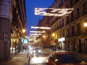 Calle Mayor in Madrid with Christmas lights