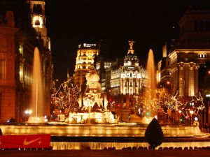 Plaza de Cibeles in Madrid (Spain) with Christmas lights