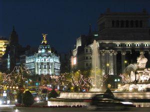 Night view of Plaza de Cibeles in Madrid (Spain)