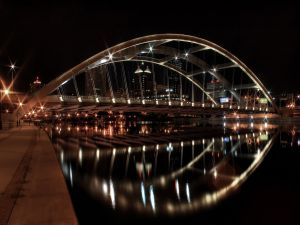 Bridge with lit arch shaped