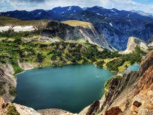 Lake between large mountains