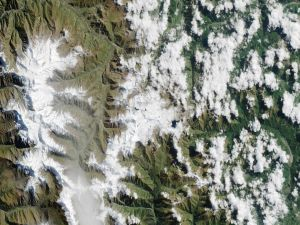 Snowy mountains viewed from space