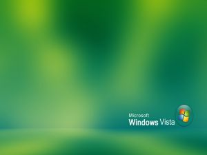 Microsoft Windows Vista on green background