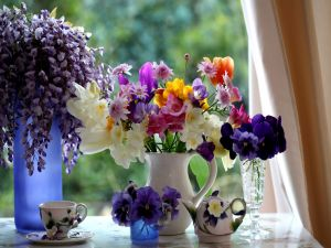 Flowers next at the window
