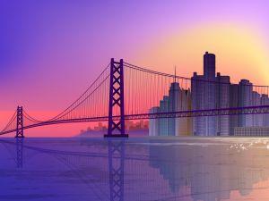A long bridge and skyscrapers