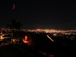 A reddish moon