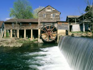 Watermill in a wooden house