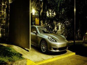 Porsche in the garage entrance