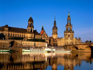 The Elbe river and baroque architecture in the city of Dresden
