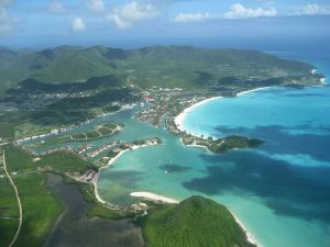 Aerial view of Jolly Harbour on the western coast of Antigua (Caribbean)