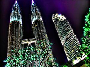The Petronas Towers lit (Kuala Lumpur, Malaysia)