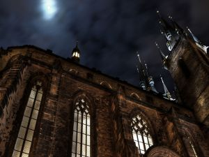 The moon in the sky over the cathedral