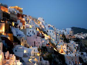 White little houses lit