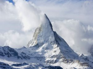 Matterhorn between clouds and snow