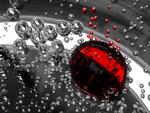 Red and transparent bubbles