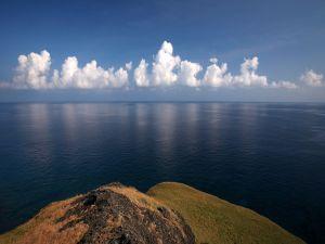 White clouds near the sea