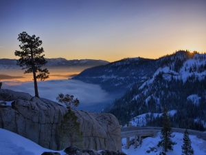 Sunrise at a snowy place