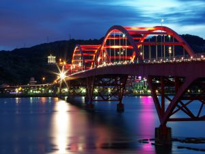 Guandu Bridge in Taiwan illuminated at night