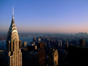 Aerial view of the Chrysler Building and New York