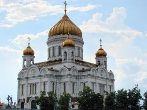 Exterior facade of the Cathedral of Christ the Saviour of Moscow