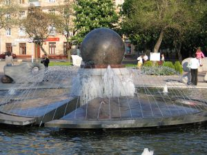 Fountain with a big ball in the center