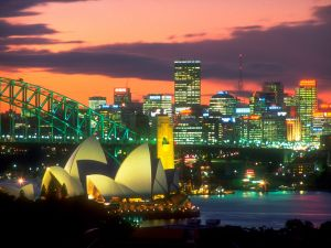Sydney city illuminated in the night