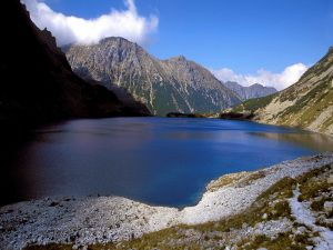 Blue lake between the mountains