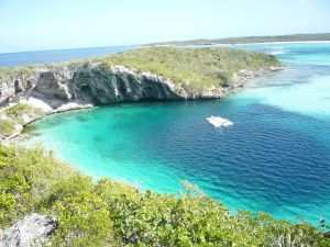 Dean's Blue Hole, the deepest blue hole in the world in Long Island, Bahamas