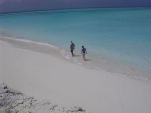 Lee, beach of the coast of Long Island, Bahamas