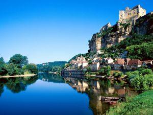 The Dordogne river and the commune Beynac-et-Cazenac (France)