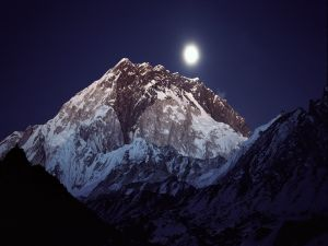 The full moon and the big mountain