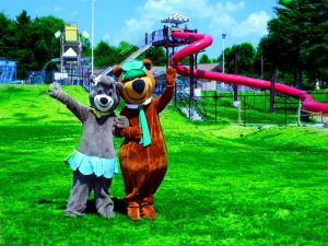 The Yogi Bear and his girlfriend at a waterpark