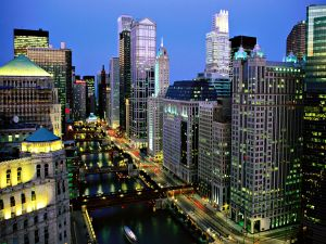 Chicago River seen at night