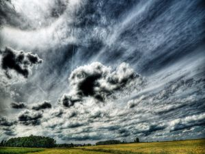 Sky with clouds over field