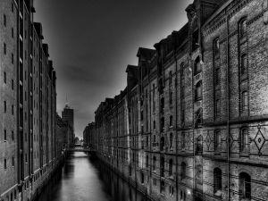 Water between the old buildings