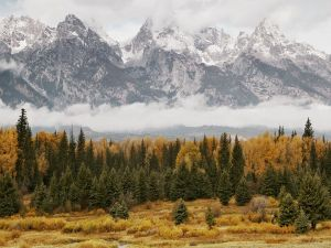 Mountains with snow in autumn