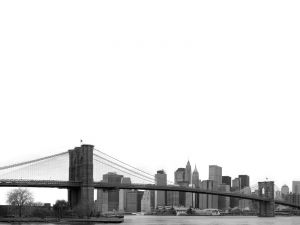 The Brooklyn Bridge in black and white