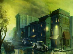 Cars in a dimly lit street