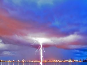 A big lightning in the sky