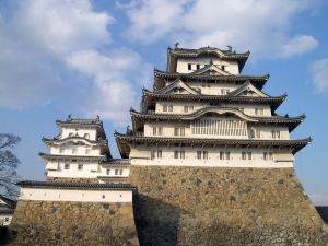 Stone base of Himeji Castle, Japan