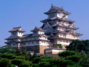 Full view of Himeji Castle in Japan