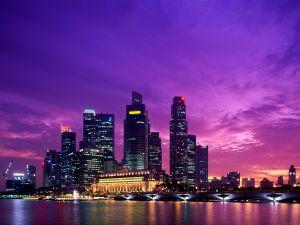 Purple sky at night city