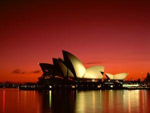 Red sky at dusk on Sydney