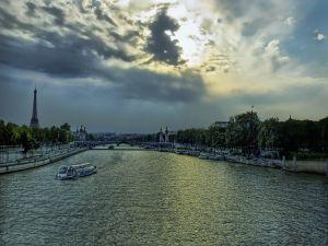 Boats on the Seine river, Paris