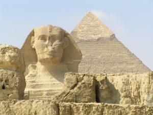 The Great Sphinx of Giza and behind the Pyramid of Khafre
