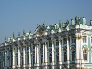 Statues on the roof of the building