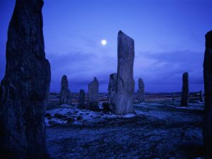 The moon over the Callanish Stones, Scotland