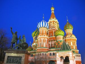 St. Basil's Cathedral and the bronze statue in honor of Dmitry Pozharsky and Kuzma Minin