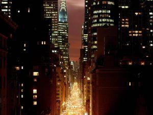 Very lit street in New York