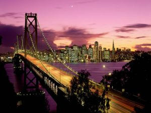 Night at the Bay Bridge, San Francisco